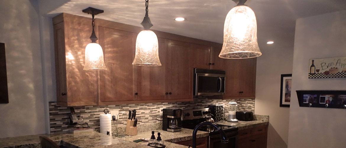 Dimmable 120 Volt Kitchen Under-Cabinet LED and Pendant Lighting at 1849 Condominiums in Mammoth Lakes California