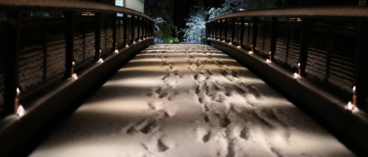 Baldwin Industrial Group Installed this Dusk to Dawn Controlled Low Voltage Walkway Lighting on the Ski Back Trail Bridge at The Village at Mammoth